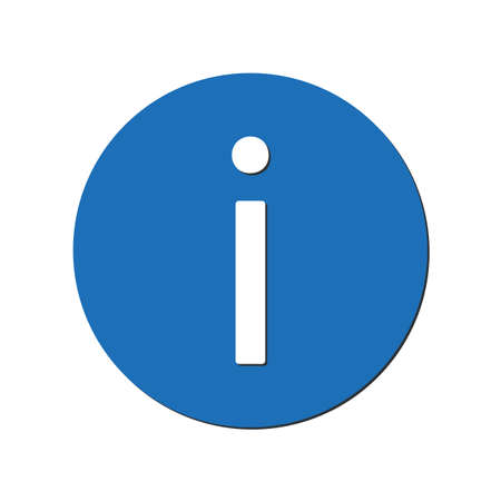 Information icon in blue circle. vector illustration eps 10
