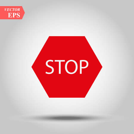 Vector illustration of Stop sign isolated on red white with effect eps10