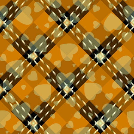 Halloween Tartan plaid with heart. Scottish pattern in orange, black and gray cage. Scottish cage. Traditional Scottish checkered background. Seamless fabric texture. Vector illustration eps 10 Illustration