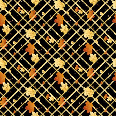 Vektor nahtloses Muster mit orangefarbenen und gelben Herbstblättern, Naturkulisse eps 10