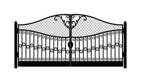 Black metal gate with forged ornaments on a white background eps 10 Vectores