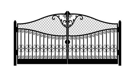 arched metal gate with forged ornaments on a white background. Beautiful iron ornament gates. vector illustration eps 10