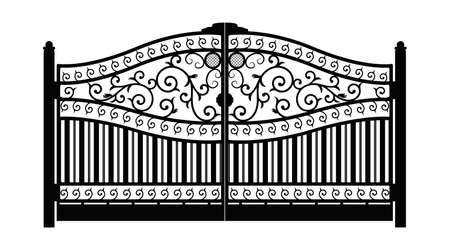 Forged gate. Architecture detail. Black forged iron gate with decorative lattice isolated on white background. Vector EPS10