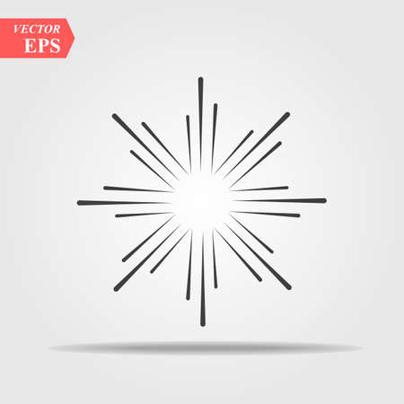 Sunburst sun burst or sunlight line art vector icon for apps and websites. Comic explosion effect. Radiating, radial lines. Starburst sunburst element eps 10 Ilustração