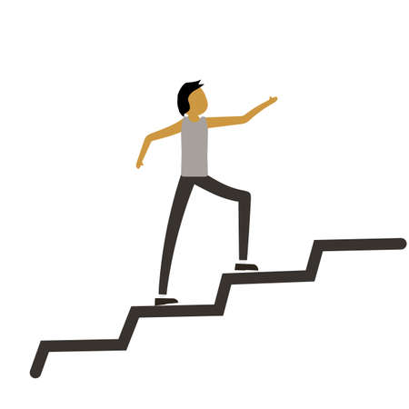 Man running along the growth graph. Happy businessman going up. Man moving up. Successful business concept. Vector flat design illustration. Square layout. eps10