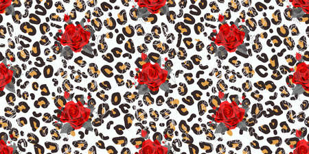 Floral animal seamless vector design print. Leopard texture and flower bouquets. Red rose, burgundy red peony, white anemone, succulent, exotic orchid, fuchsia, dahlia.Trendy fashion stylish pattern. eps 10 Ilustrace