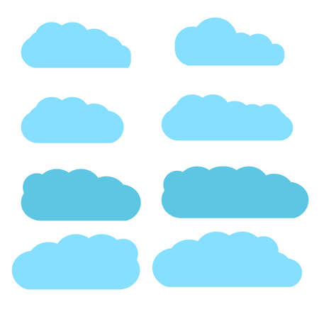 Clouds set isolated on white background. Collection of clouds for web site, poster, placard and wallpaper. Creative modern concept. Clouds vector illustration eps10 Ilustração
