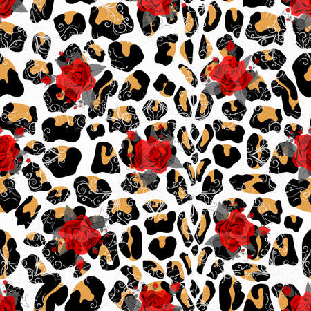 Floral animal seamless vector design print. Leopard texture and flower bouquets. Red rose, burgundy red peony, white anemone, succulent, exotic orchid, fuchsia, dahlia.Trendy fashion stylish pattern. eps10