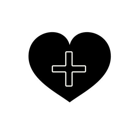 Heart with a cross vector icon. Healthcare, Medical symbol. Doctor s day sign, emblem isolated on white background with shadow. Flat style for graphic and web design, logo. EPS 10 pictogram.