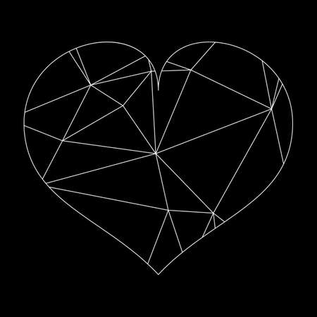 Abstract geometric heart of lines and dot, polygonal shape. Valentine s day background eps 10