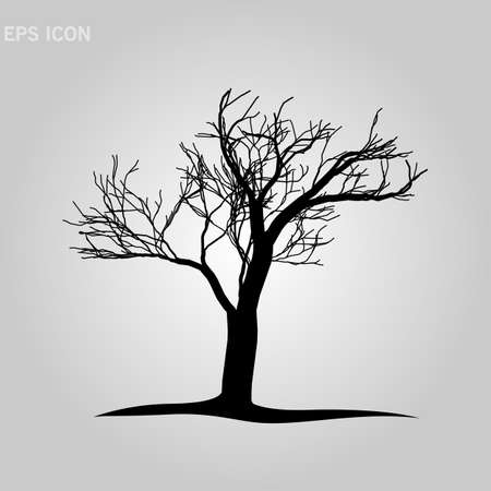 Decorative tree silhouette on white background. vector illustration. Eps10