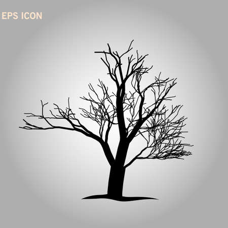 Tree Silhouette Isolated on White Backgorund. Decorative tree icon. Vecrtor Illustration. EPS10