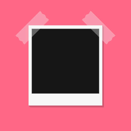 Black and white photo frames isolated on pink. Vintage style. Vector illustration eps10