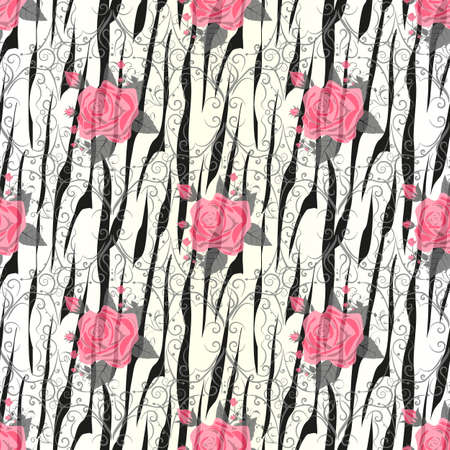 Zebra Stripes with red rose Flowers Seamless Pattern. Zebra print, animal skin, tiger stripes, abstract pattern, line background, fabric. Amazing hand drawn vector illustration. Poster, banner. eps 10