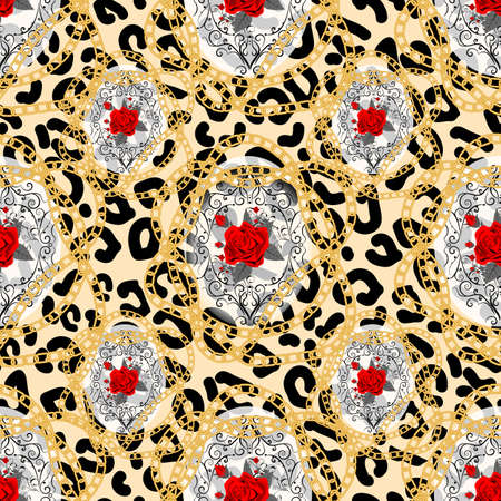 Seamless pattern with leopard print and roses. Vector background with animal skin and flower texture. For printing on fabric, wallpaper, packaging. eps 10