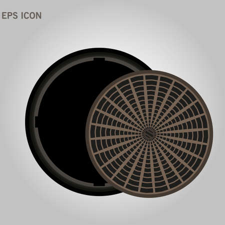 An open manhole with steps leading down. street manhole open on a white background eps 10
