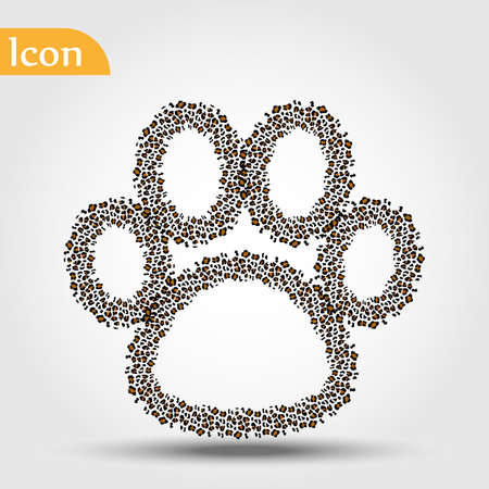 Dog paw with leopard skn foot and brown stripes. Flat icon design background. For animal website or wild life saving organization