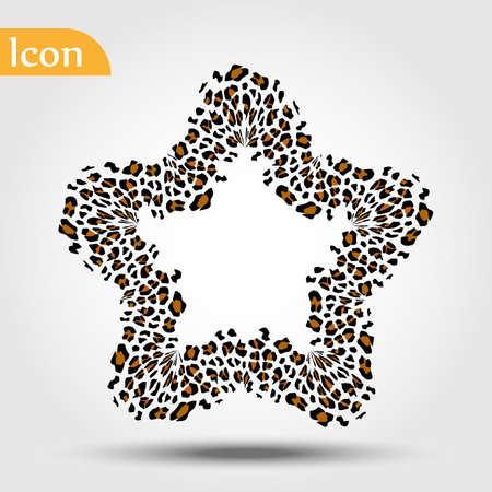 Leopard star, Star with leopard style. vector illustration
