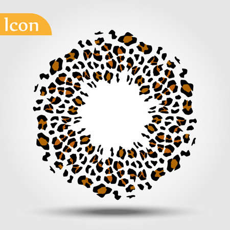 Circle ball with wild animals leopard skin. Vector illustration 向量圖像