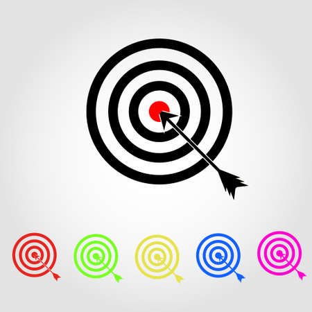 Target Icon in trendy flat style isolated on grey background. Aim symbol for your web site design, logo, app, UI.