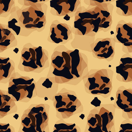 Leopard pattern. Seamless vector print. Realistic animal texture. Black and yellow spots on a beige background. Ilustração
