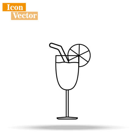 Cocktail line icon, outline vector sign, linear style pictogram isolated on white.