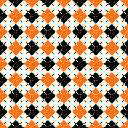 Seamless argyle pattern with dashed lines in orange, black and white.