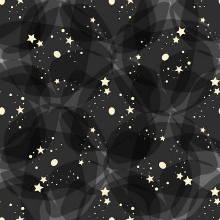 Vector pattern made with white stars over black background