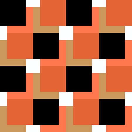 square pattern black and orange on white background.
