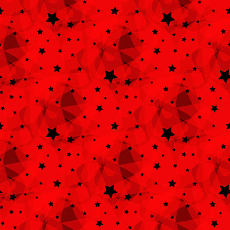 Vector pattern made with white stars red background