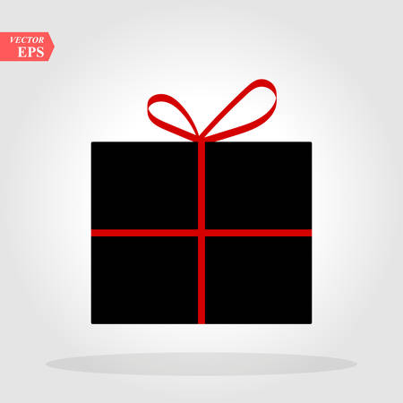Gift in a black box with a red bow on a white background vector eps10