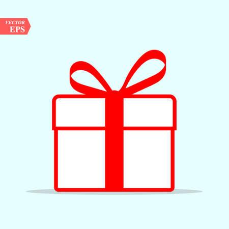 Illustratie van het rode pictogram van de giftdoos op achtergrond. Kerst cadeau pictogram illustratie vector symbool.
