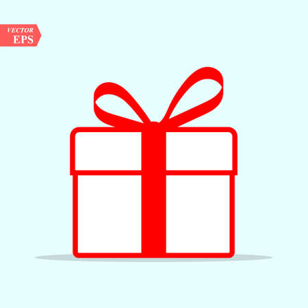 Illustration of red gift box icon on background. Christmas gift icon illustration vector symbol.