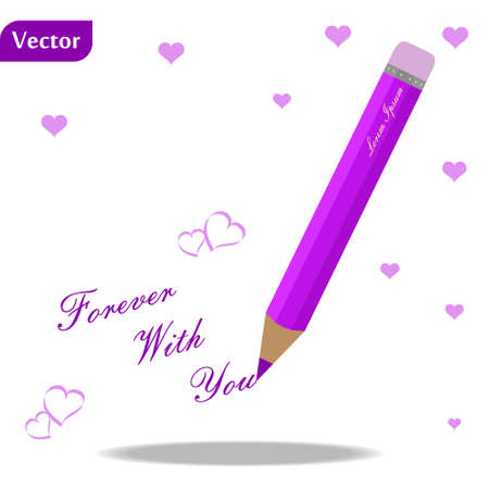 purple pen with text forever with you and hearts on white background eps10