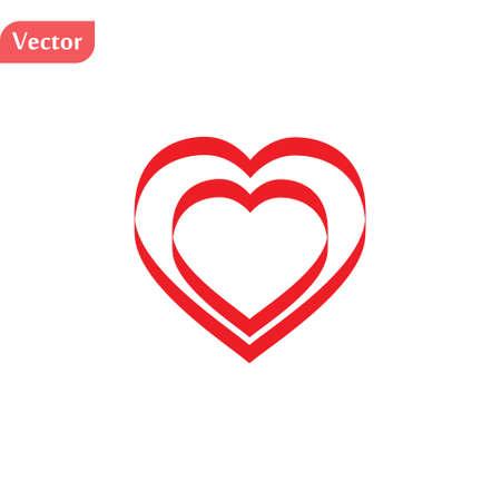 Doppelte rote Vektorherzen im Retro-Stil und gestreichelt Vektorgrafik
