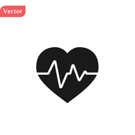 Black electrocardiogram icon. Illustration
