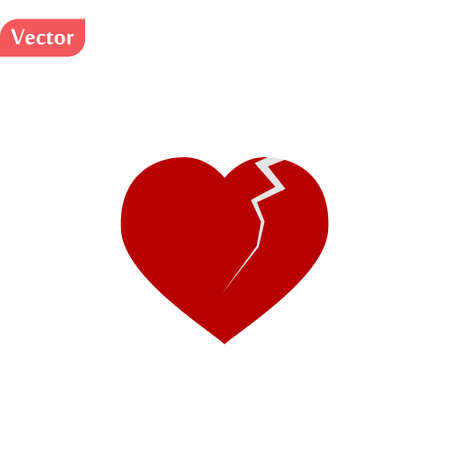 illustration of a broken heart, isolated on white background