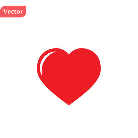 Heart, Symbol of Love and Valentine s Day. Flat Red Icon Isolated on White Background. Vector illustration. Illustration
