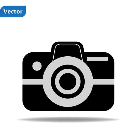 Camera icon, flat photo camera vector isolated. Modern simple snapshot photography sign. Instant Photo internet concept. Trendy symbol for website design, web button, mobile app