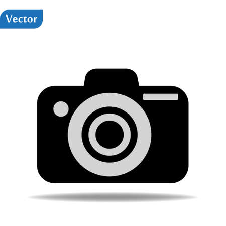 Photography icon with green photo camera on white