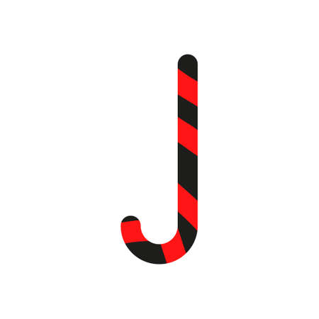 Christmas cane candy. Stick isolated. Decoration sugar lollipop. Holiday red background. Cartoon illustration. Striped traditional noel dessert. Realistic lollypop icon