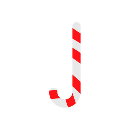 Christmas cane candy. Stick isolated. Decoration sugar lollipop. Holiday red background. Cartoon illustration. Striped traditional noel dessert. Realistic lollypop icon. eps10