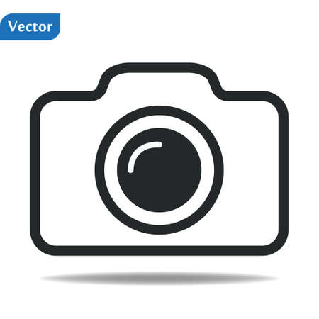 Camera icon vector illustration. Isolated pohotocamera symbol. Photo camera line concept. Photo gadget graphic design. Camera pictogram on grey background. eps10