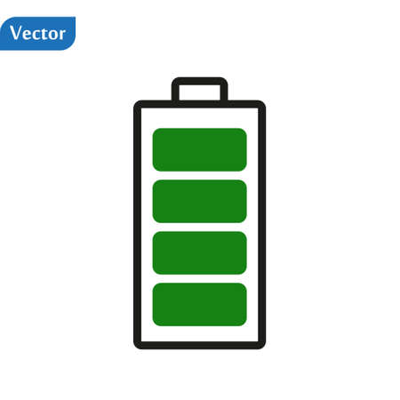 Charged battery. Green Full charge battery. Battery charging status indicator. Glass realistic power green battery illustration on white background. Full charge total discharge. Charge status. Vector Illusztráció