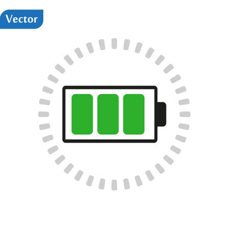 Charged battery. Green Full charge battery. Battery charging status indicator. Glass realistic power green battery illustration on white background. Full charge total discharge. Charge status