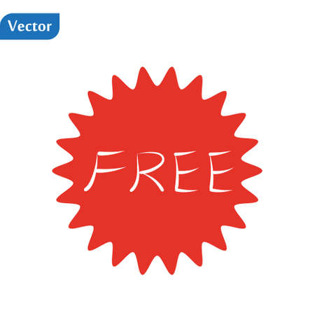 Free vector label. Red badge sticker design. Promotion and advertising. eps10