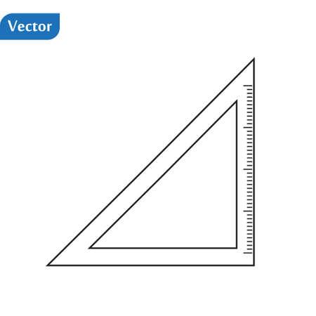 Triangle ruler simple icon. Vector. Contour illustration