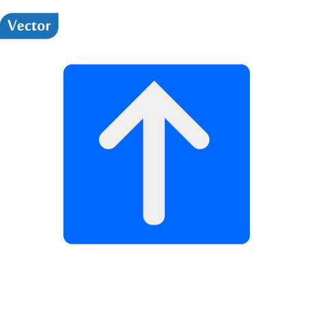 Arrow Up vector icon. This flat symbol is drawn with blue color on a white background