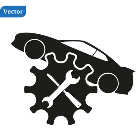 car wrench black simple icon on white background for web design