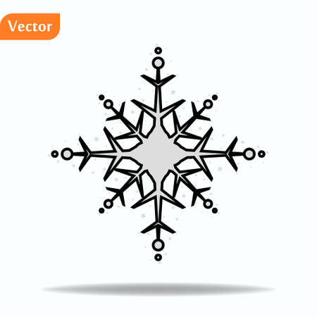 Snowflake icon. Flat vector illustration in black on white background